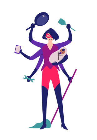 Superhero woman ready for cleaning. Housework, household. Illustration