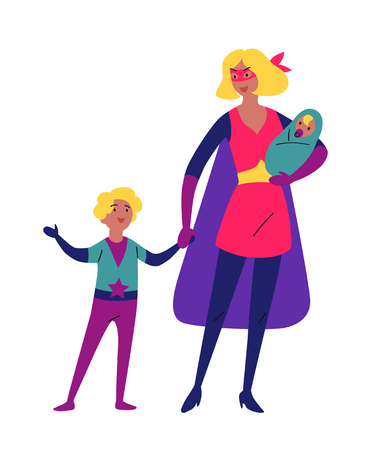 Mother and her children playing together in superhero costumes Çizim