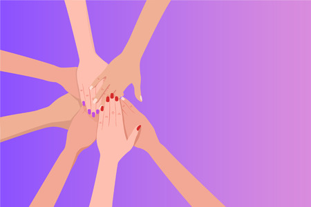 Group of people putting their hands on top of each other. Illustration