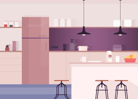 Kitchen interior. Comfortable dining-room Kitchen utensils and appliances Vector illustration.