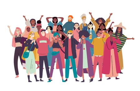 Groep diverse mensen, gemengd ras menigte