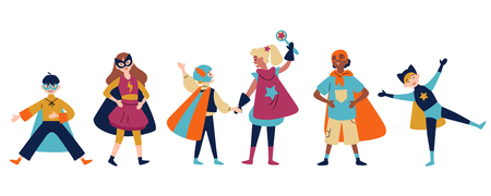 Kids wearing colorful costumes of different superheroes Stock Illustratie