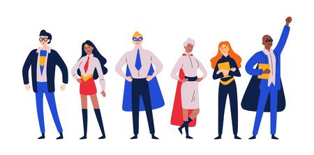 Superhéroes de empresarios. Emprendedor, gerente disfrazado de héroe. Ilustración de vector