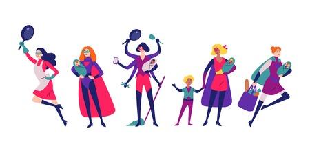 Mujeres disfrazadas de superhéroes hacen las tareas del hogar, la limpieza y la crianza de los hijos.