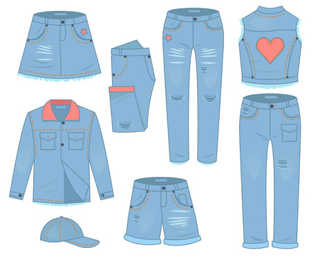 Womens clothing set of blue jeans. Fashion design urban casual style. 免版税图像 - 121497004
