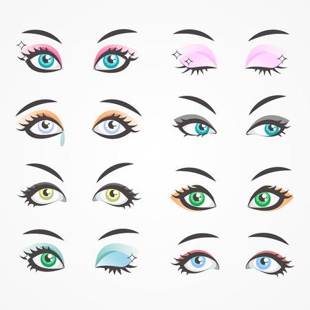 Ojos de primer plano de mujeres hermosas. Ojos de hembras. Ilustración de vector