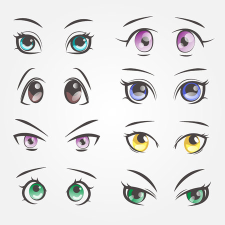 Cartoon female eyes. Closeup eyes of beautiful women.