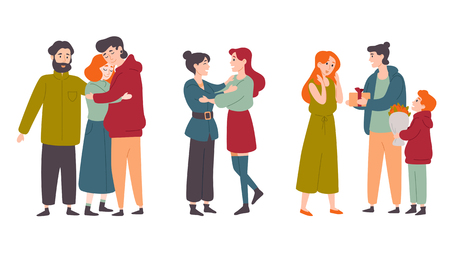 Happy people hugging, congratulate each other on the holiday. Families, friends.