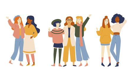 Groups of female friends, Portrait of young women. Ilustração
