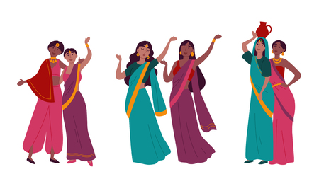 Indian women in traditional national sari clothes Illustration
