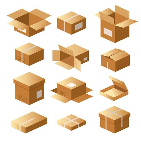 Set of cardboard boxes, carton package, shipping delivery, cargo parcel Ilustração