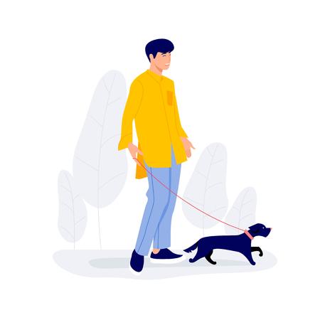 Homme marchant avec petit chien Illustration vectorielle.