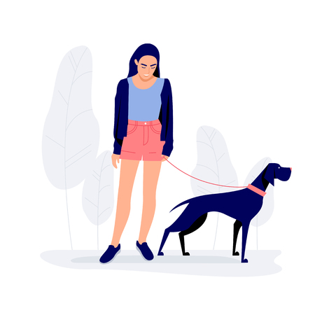 Young woman walking with dog Vector illustration  イラスト・ベクター素材