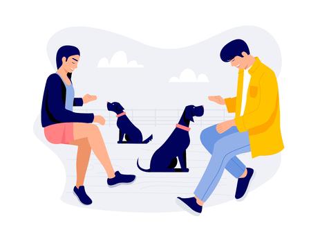 Dos jóvenes con perros ilustración vectorial.