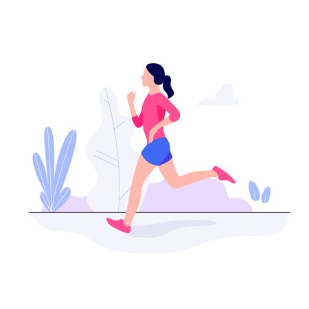 Athletic young woman working out, running, jogging Stock Illustratie