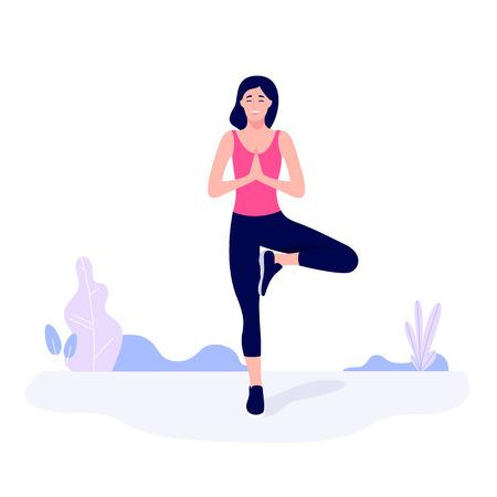 Sportliche junge Frau trainiert, streckt sich, macht Fitnessübungen Vektorgrafik