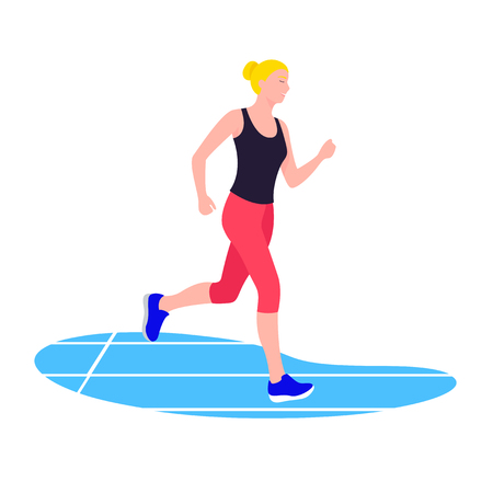 Fit woman running. Young female athlete doing sports, workout Illustration