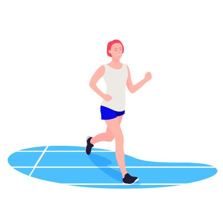 Colocar mujer corriendo. Joven atleta haciendo deporte, ejercicio Ilustración de vector