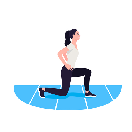 Fit woman exercising. Warmup. Girl do sports workout Illustration