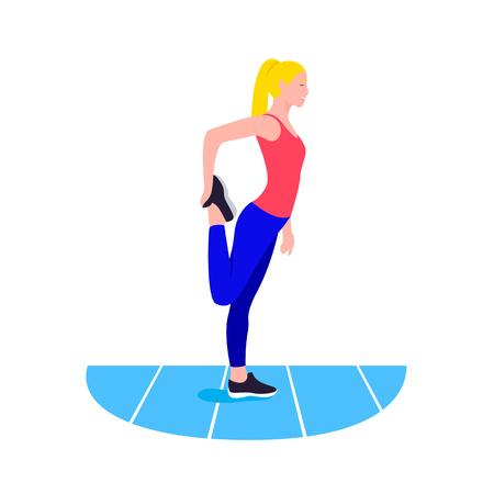 Fit woman stretching. Warmup. Girl do sports workout
