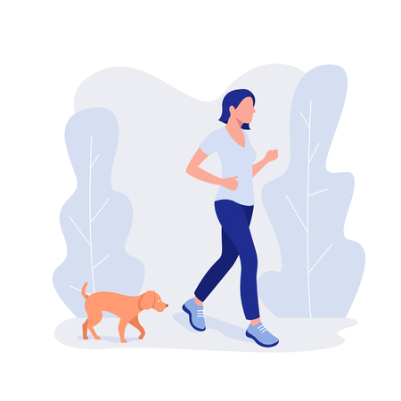 Woman and dog run. Healthy lifestyle, working out, exercising