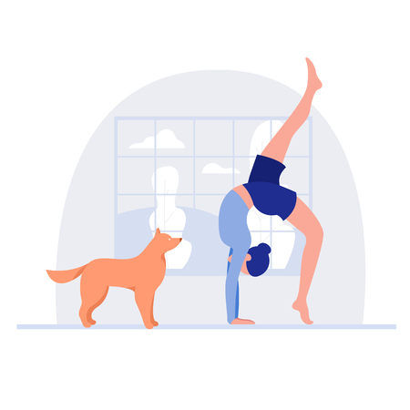 Woman and dog. Healthy lifestyle, working out exercising