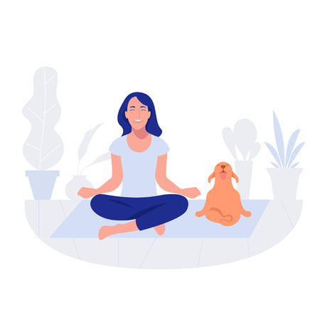 Woman and dog yoga. Healthy lifestyle, working out, exercising Ilustração