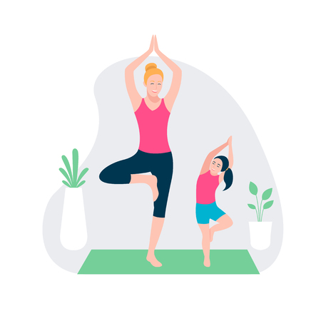 Mother and kid doing sport exercises. Family sports activity
