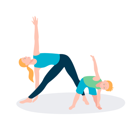 Mother and kid doing sport exercises. Family sports activity Archivio Fotografico - 122914267