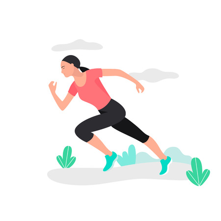 Young woman jogging. Marathon racer running. Athlete runner Ilustração