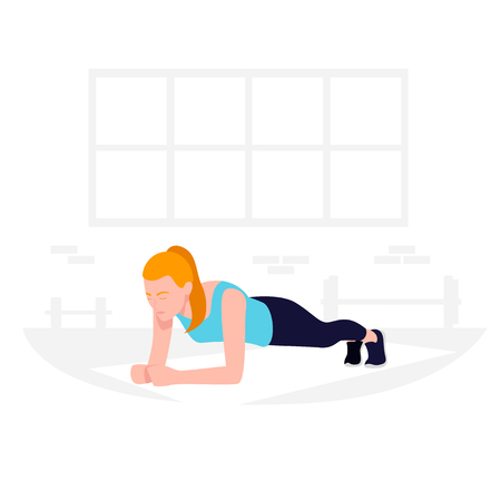 Young Fit woman doing plank exercise. Core workout, loss weight Stock Illustratie