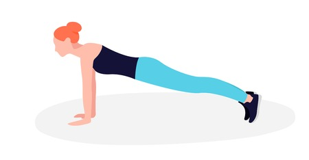 Young Fit woman doing plank exercise. Core workout, loss weight Ilustração