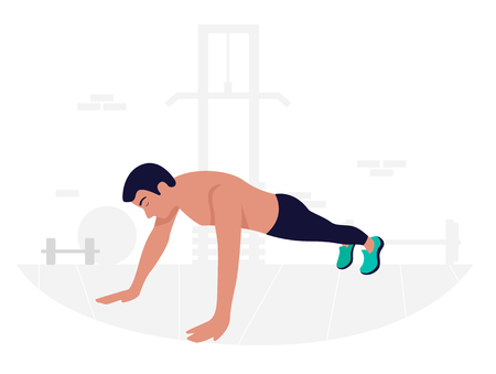 Young man doing plank exercise. Core workout. Stock Illustratie