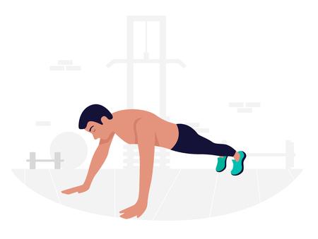 Young man doing plank exercise. Core workout. Ilustração