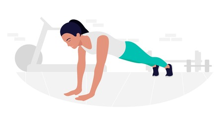 Young Fit woman doing plank exercise. Core workout, loss weight Иллюстрация
