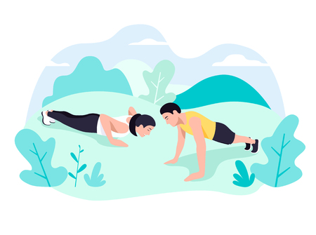 Couple doing plank exercise core workout together in park Stock Illustratie