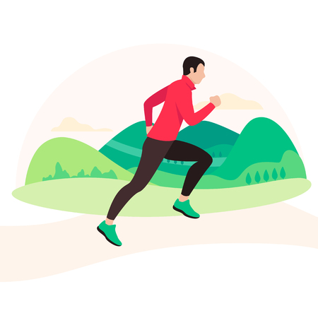 Jogging and running man. Runner in motion