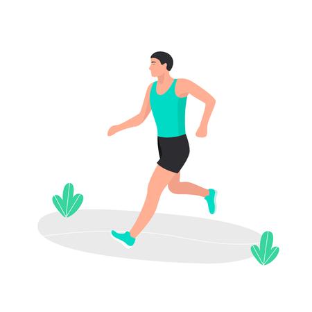 Young man jogging. Marathon racer running. Athlete runner