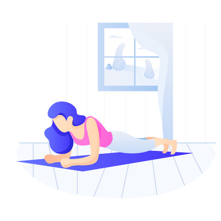 Young Fit woman doing plank exercise. Core workout, loss weight Vectores