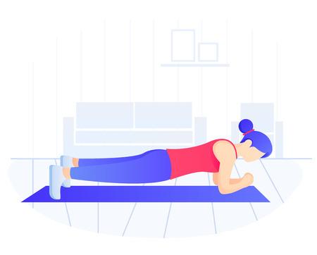 Colocar joven mujer haciendo ejercicio de tabla. Entrenamiento básico, pérdida de peso. Ilustración de vector