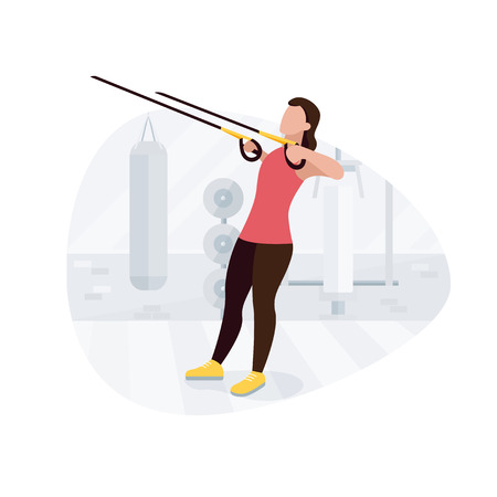 Fit woman working out doing bodyweight exercises. Fitness strength training workout.  イラスト・ベクター素材
