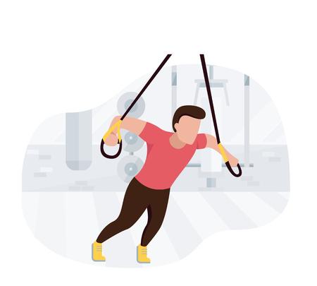 Colocar hombre trabajando haciendo ejercicios de peso corporal. Entrenamiento de entrenamiento de fuerza fitness.