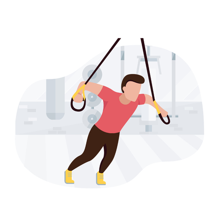 Fit man working out doing bodyweight exercises. Fitness strength training workout. Ilustração