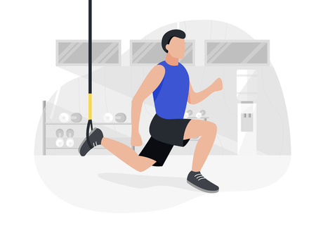 Fit man working out doing bodyweight exercises. Fitness strength training workout. Illustration