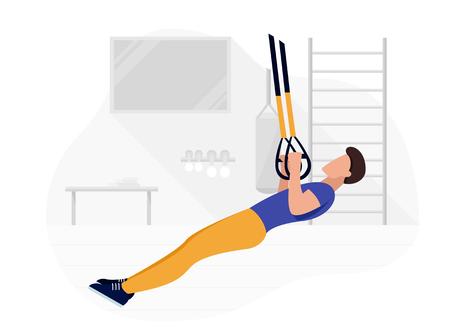 Colocar hombre trabajando haciendo ejercicios de peso corporal. Entrenamiento de entrenamiento de fuerza fitness. Ilustración de vector