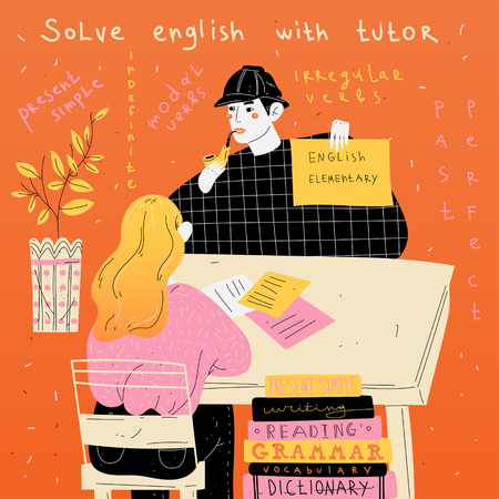 English tutor teaches a student individually. Foreign language lesson Stock Illustratie
