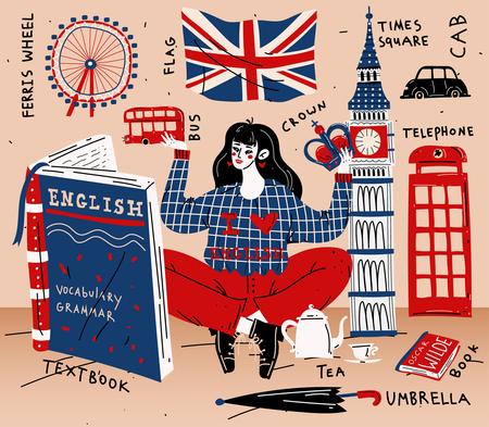 Studentessa della giovane donna che impara inglese. Istruzione, lingua straniera
