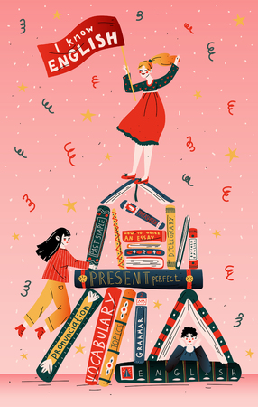Students with books. Education, school, learning, studying Illustration