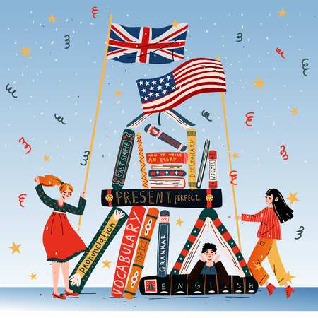 Young people with books, British and American flags.