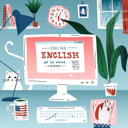 Aprenda el idioma de la educación en línea en inglés. Lugar de trabajo, computadora de escritorio